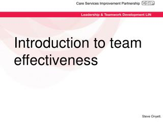 Introduction to team effectiveness