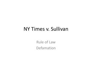 NY Times v. Sullivan