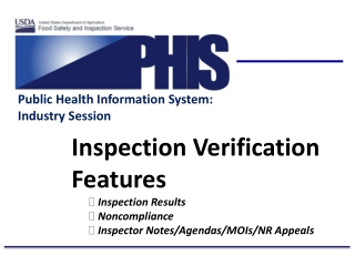 Inspection Verification Features Inspection Results Noncompliance