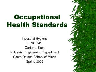 Occupational Health Standards