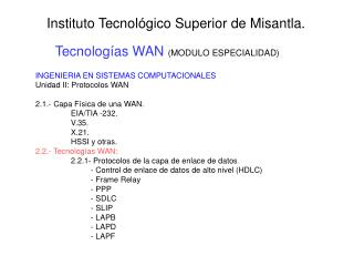 Tecnolog as WAN MODULO ESPECIALIDAD