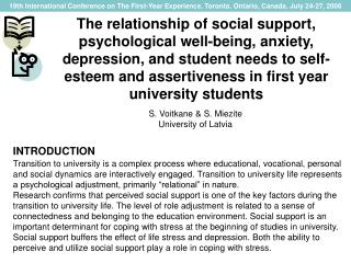 The relationship of social support, psychological well-being, anxiety, depression, and student needs to self-esteem and