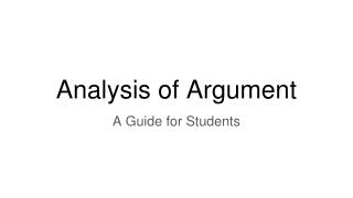 Analysis of Argument