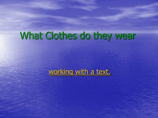 What Clothes do they wear