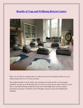 Benefits of Yoga and Wellbeing Retreat Centers
