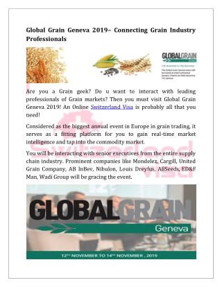 Global Grain Geneva 2019 –Connecting Grain Industry Professionals