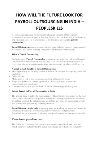 HOW WILL THE FUTURE LOOK FOR PAYROLL OUTSOURCING IN INDIA - PEOPLESKILLS