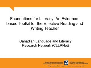 Foundations for Literacy: An Evidence-based Toolkit for the Effective Reading and Writing Teacher