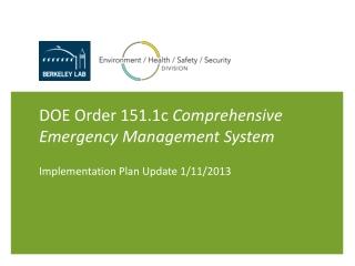 DOE Order 151.1c Comprehensive Emergency Management System