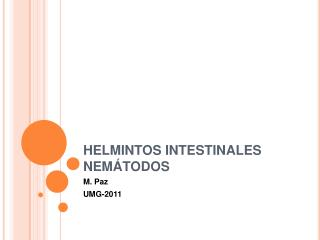 HELMINTOS INTESTINALES NEMÁTODOS