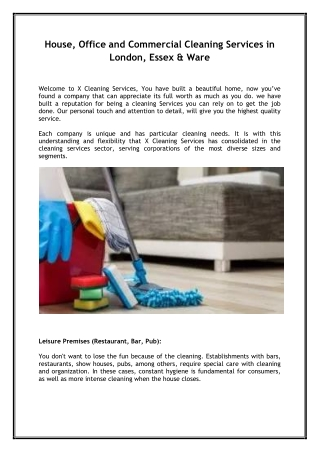 House, Office and Commercial Cleaning Services in London, Essex & Ware