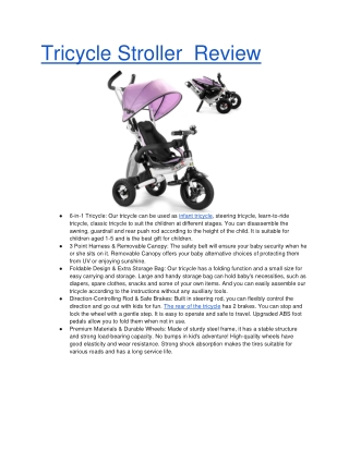 Tricycle Stroller Review