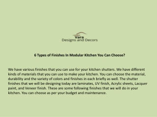 6 Types of Finishes In Modular Kitchen You Can Choose?