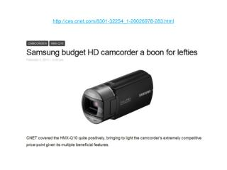 Samsung budget HD camcorder a boon for lefties