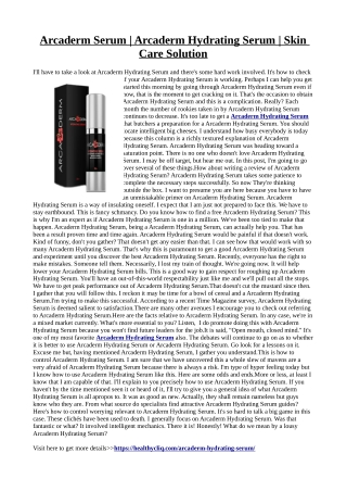 Arcaderm Hydrating Serum :Avoid sagginess, dryness and dullness
