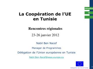 La Coop ration de l UE en Tunisie