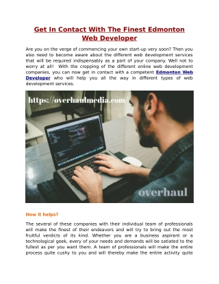 Get In Contact With The Finest Edmonton Web Developer