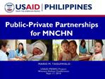Public-Private Partnerships  for MNCHN