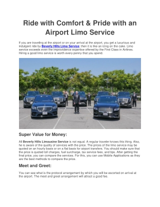 Ride with Comfort & Pride with an Airport Limo Service!