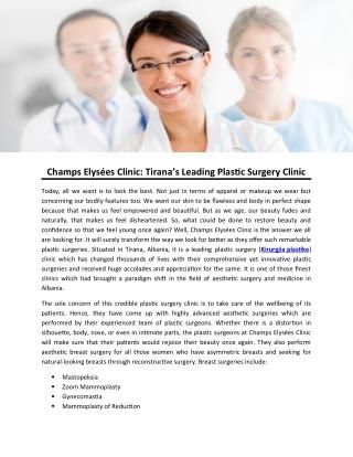 Champs Elysées Clinic: Tirana's Leading Plastic Surgery Clinic
