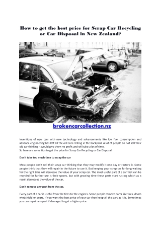 How to get the best price for Scrap Car Recycling or Car Disposal in New Zealand?