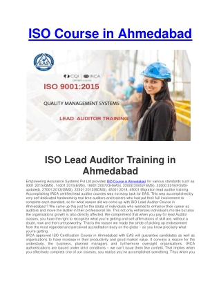 ISO Certification Course in Ahmedabad