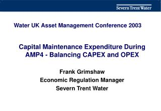 Water UK Asset Management Conference 2003