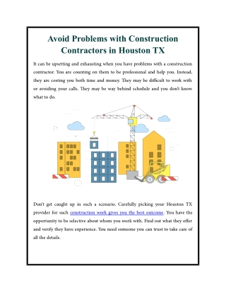 Avoid Problems with Construction Contractors in Houston TX