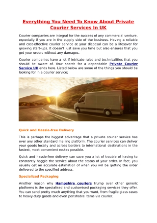 Everything You Need To Know About Private Courier Services In UK