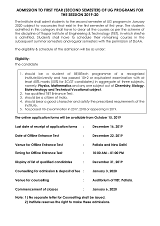 ADMISSION TO FIRST YEAR (SECOND SEMESTER) OF UG PROGRAMS FOR THE SESSION 2019-20