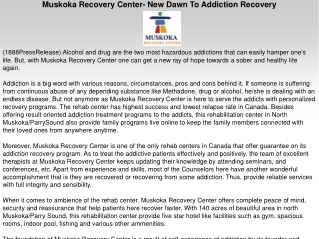 Muskoka Recovery Center- New Dawn To Addiction Recovery