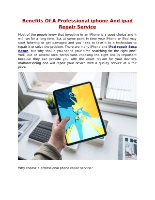 Benefits Of A Professional iphone And ipad Repair Service
