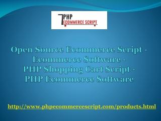 Open Source Ecommerce Script