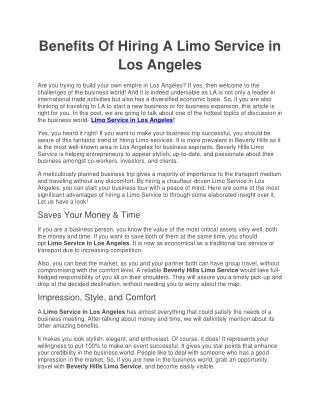 Benefits Of Hiring A Limo Service in Los Angeles!
