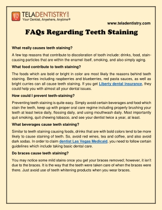FAQs Regarding Teeth Staining