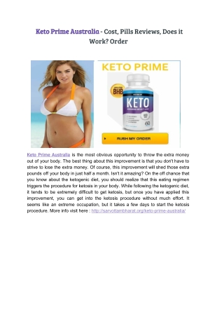 Keto Prime Australia - Cost, Pills Reviews, Does it Work? Order