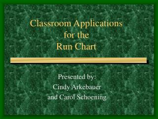 Classroom Applications for the Run Chart