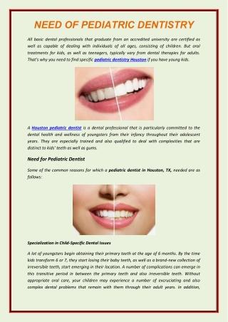 Need Of Pediatric Dentistry