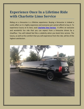 Experience Once In a Lifetime Ride with Charlotte Limo Service
