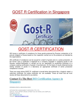 GOST R Certification in Singapore