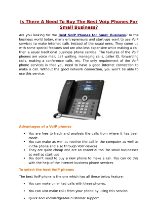 Is There A Need To Buy The Best Voip Phones For Small Business?