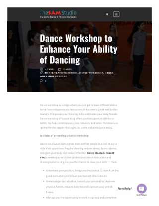 Dance Workshop to Enhance Your Ability of Dancing