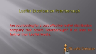 Leaflet Distribution Peterborough