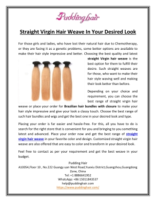 Straight Virgin Hair Weave In Your Desired Look