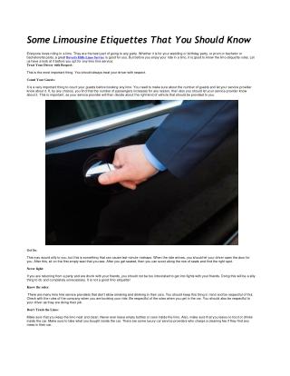 Some Limousine Etiquettes That You Should Know!