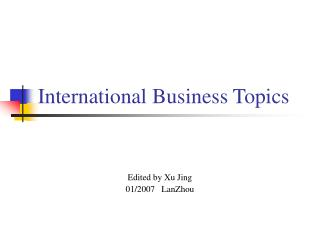 International Business Topics