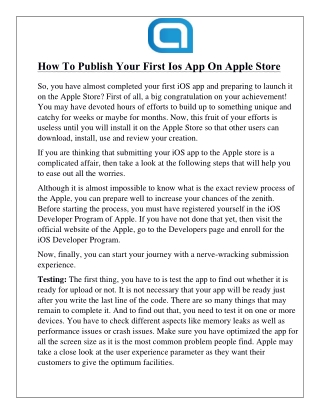 How To Publish Your First Ios App On Apple Store