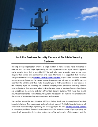 Look For Business Security Camera at TechSafe Security Systems