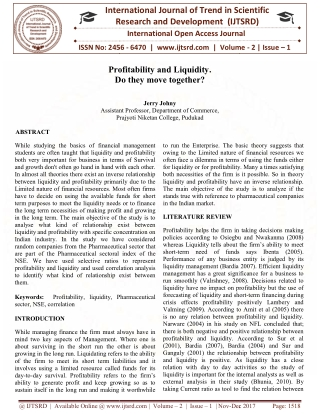 Profitability and Liquidity. Do they move together
