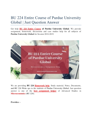 BU 224 Entire Course of Purdue University Global